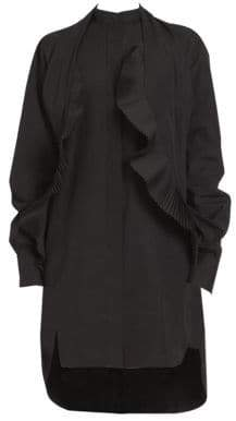 Givenchy Cotton Poplin Pleated Scarf Dress