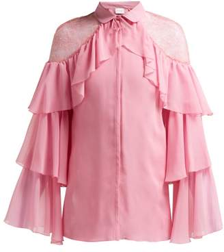 Giambattista Valli Ruffled Lace Insert Silk Blouse - Womens - Pink