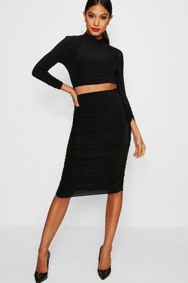 boohoo Suvi Rouched Sleeve Midi Skirt Co-Ord Set $35 thestylecure.com