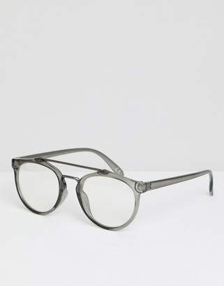 Asos Design Round Glasses In Crystal Grey With Nose Bar Detail