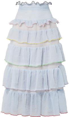 Sandy Liang - Choux Choux Tiered Ruffled Textured-chiffon Midi Skirt - Sky blue