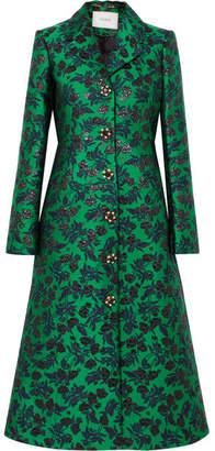 Erdem Dominique Embellished Floral-jacquard Coat - Green