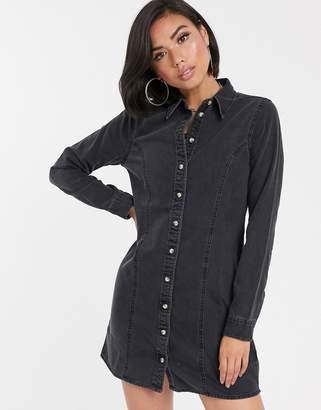 Asos Design DESIGN denim fitted western shirt dress in washed black