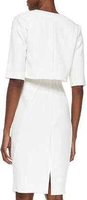 Lela Rose Half-Sleeve Silk-Trim Shrug, Ivory