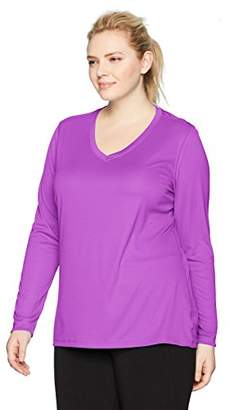 Just My Size Women's Plus Size Active Cooldri Long Sleeve V-Neck Tee