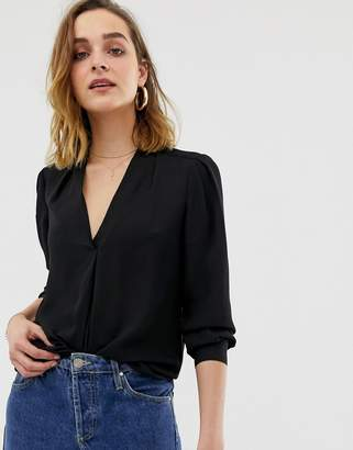 Warehouse blouse with pleat front in black