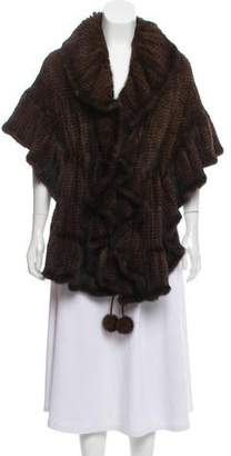 Fur Mink Asymmetrical Shawl