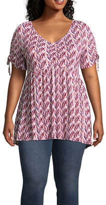 Boutique + + Short Sleeve Printed Babydoll Knit Blouse - Plus
