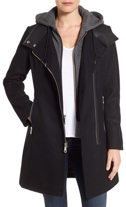 Women's Marc By Andrew Marc Hooded Bib Front Boiled Wool Jacket $330 thestylecure.com