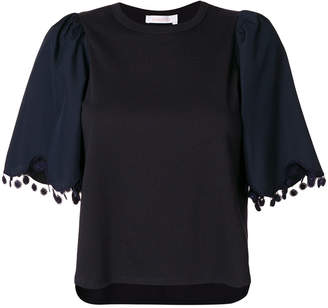 See by Chloe embroidered bell sleeve T-shirt