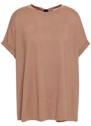 Brunello Cucinelli Tie-detailed Metallic Cashmere And Silk-blend T-shirt