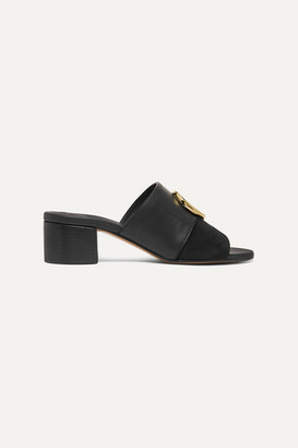 Chloé C Logo-embellished Leather And Suede Mules - Black