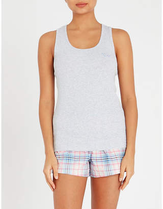 Peter Alexander Checked stretch-knit and cotton pyjama shorts