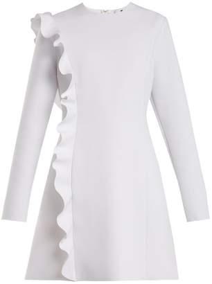 MSGM Asymmetric Ruffle Crepe Dress - Womens - White