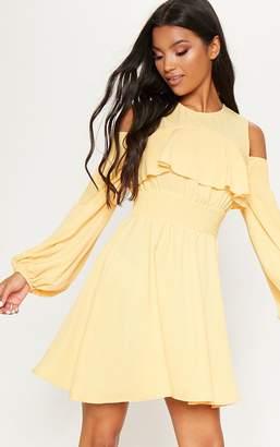 PrettyLittleThing Lemon Chiffon Cold Shoulder Puff Sleeve Skater Dress