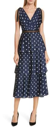 Self-Portrait Star Print Tiered Midi Dress