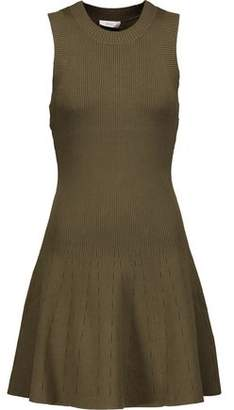 A.L.C. Rory Pleated Ribbed-Knit Mini Dress