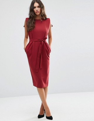 ASOS Belted Midi Dress with Split Cap Sleeve and Pencil Skirt $73 thestylecure.com