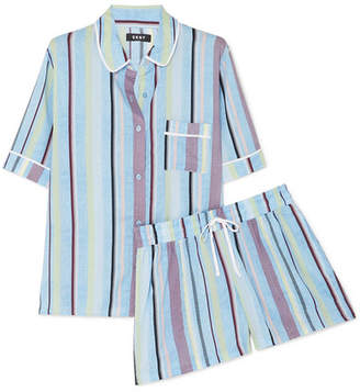 DKNY Easy Does It Striped Crepe De Chine Pajama Set - Light blue