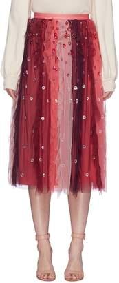 Needle & Thread 'Rainbow' floral embellished colourblock ruffle tulle skirt