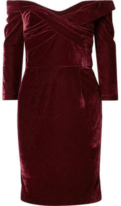 Marchesa Off-the-shoulder Draped Stretch-velvet Dress - Burgundy