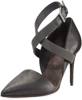 Brunello Cucinelli 85mm Leather Pump with Monili Ankle Wrap