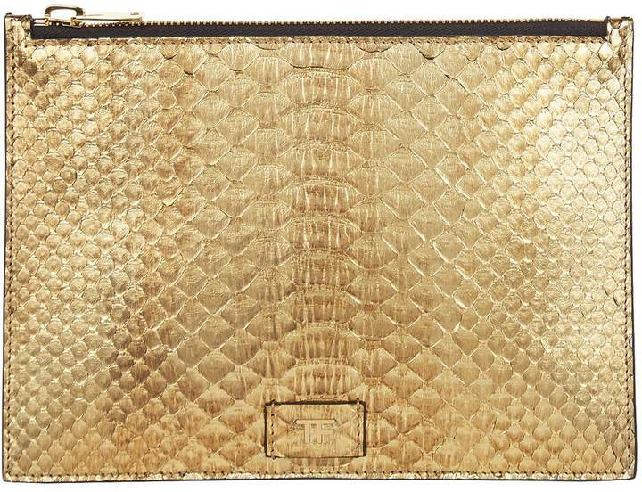 TOM FORD Small Python Pouch, Gold, One Size