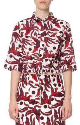 Kenzo Cropped Phoenix-Print Short-Sleeve Top
