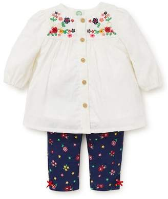 Little Me Floral Charm Embroidered Tunic & Leggings Set