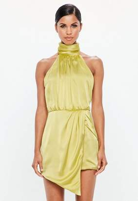 Missguided Lime Green Wrap Satin Playsuit