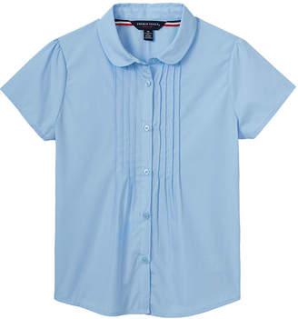 French Toast Pintucked Collar Neck Short Sleeve Cap Sleeve Blouse - Big Kid Girls