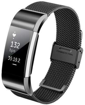 Fitbit Kutop Charge 2 Band Business Luxury Milanese Stainless Steel Bracelet Fitness Accessory Replace Wrist Bands Loop Straps Clasp for Charge2 Fashion