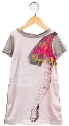 Junior Gaultier Ballerina Print Short Sleeve Dress w/ Tags