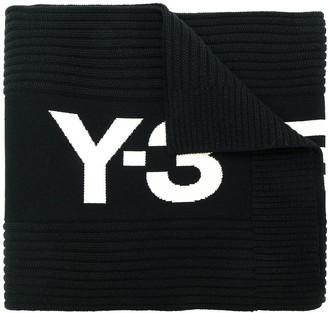 Y-3 tri-stripe ribbed knit scarf