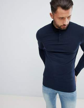 Asos Design DESIGN muscle fit long sleeve polo with contrast collar in navy