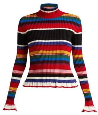 MSGM Striped Wool Blend Roll Neck Sweater - Womens - Multi
