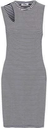 LnA Cutout Striped Stretch-Jersey Mini Dress