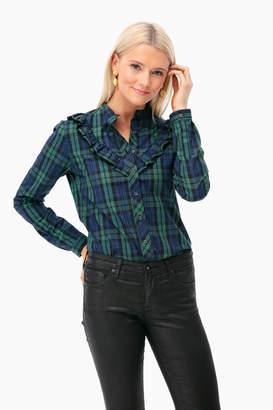 The Shirt by Rochelle Behrens Plaid Ruffle Button Down