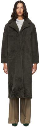 Yves Salomon Meteo Meteo Green Curly Merino Shearling Long Coat
