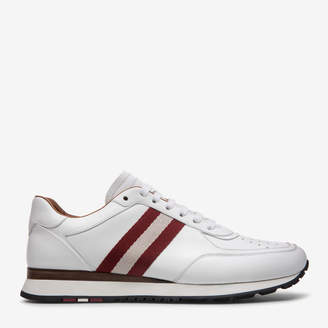 The New Competition White, Mens plain calf leather trainers in white Bally