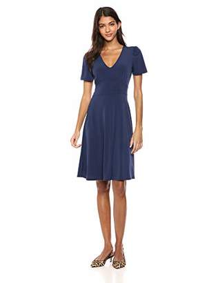 Lark & Ro Amazon Brand Women's Short Sleeve V Neck Gathered Fit and Flare