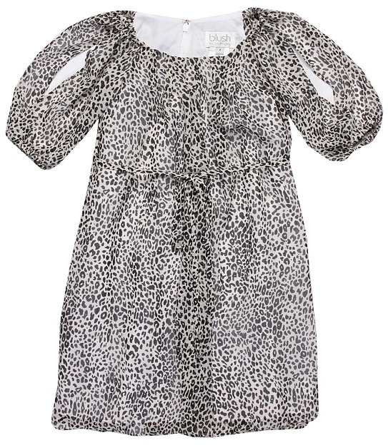 Us Angels Getaway Glam Printed Chiffon Leopard Dress (Big Kids) (Leopard) - Apparel