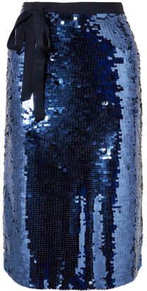 J.Crew Yams Grosgrain-trimmed Sequined Crepe Skirt - Navy