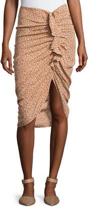 Contemporary Designer Hazel Side-Ruched Silk Ruffle Skirt