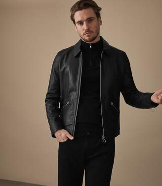 Reiss HUDSON LEATHER JACKET Black