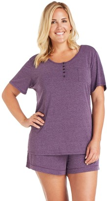 Cuddl Duds Plus Size Pajamas: Henley Tee & Boxers Set