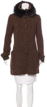 Valentino Fox-Trimmed Virgin Wool Cardigan