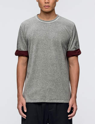3.1 Phillip Lim Velour S/S T-Shirt with Rolled Jersey Cuff