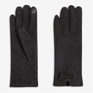 Joe Fresh Women's Faux Suede Gloves, Black (Size L/XL)