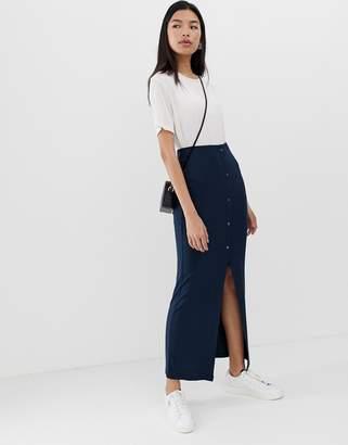 Asos Design DESIGN rib popper maxi tube skirt